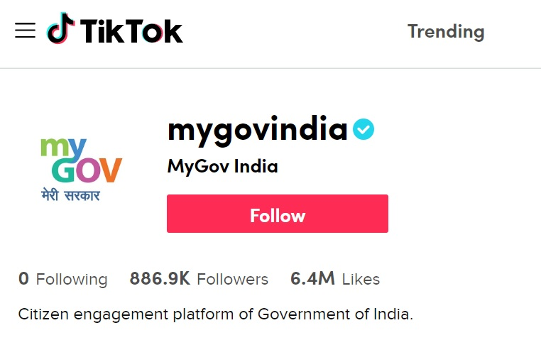 Government of India on Tiktok